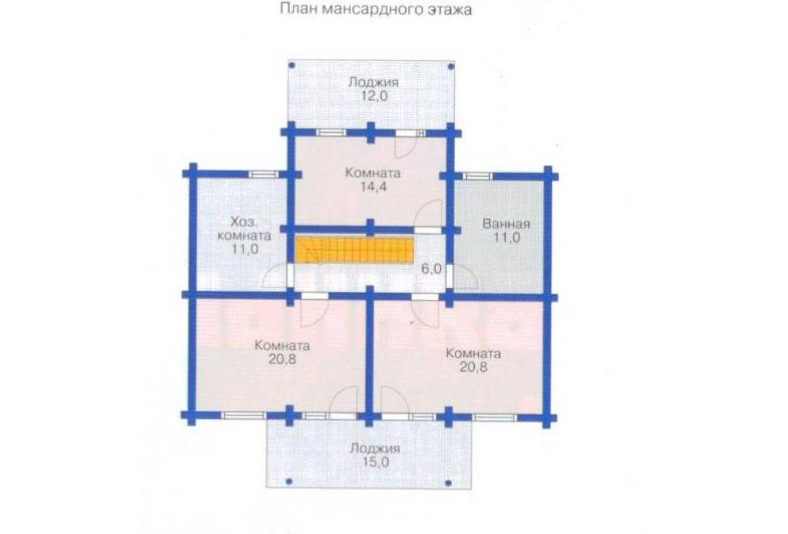 План N1 проекта дома из бревна АСД-1348