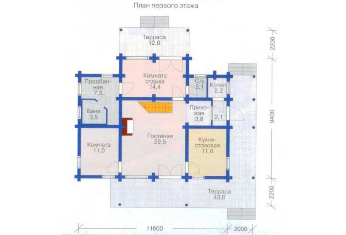 План N2 проекта дома из бревна АСД-1348