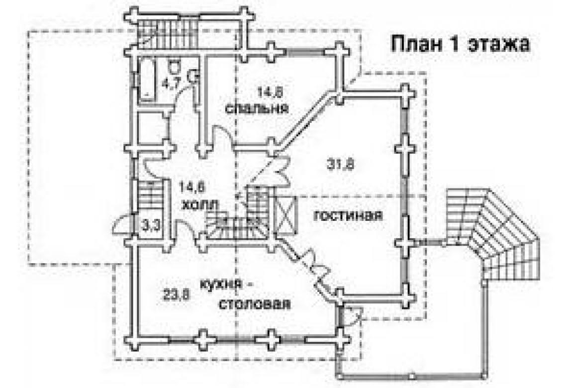 План N1 проекта дома из бревна АСД-1349