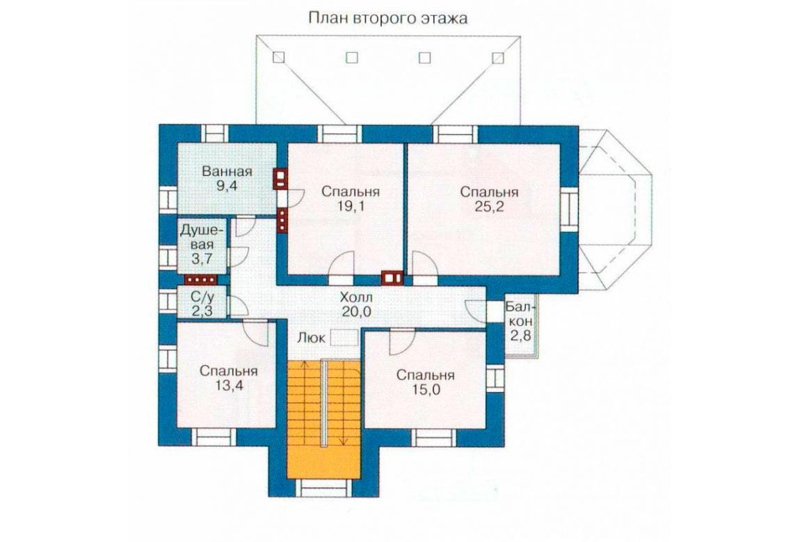 План N1 проекта кирпичного дома АСД-1035