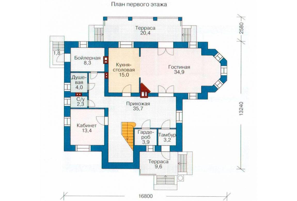 План N2 проекта кирпичного дома АСД-1035