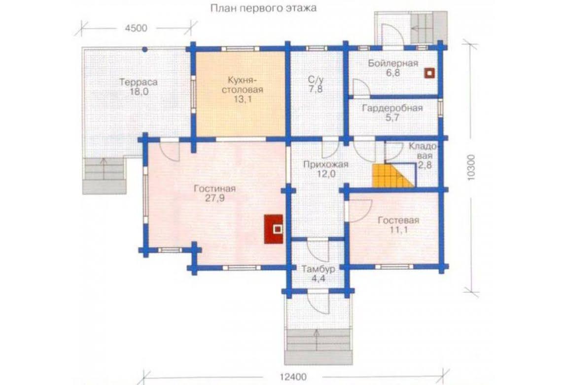 План N1 проекта дома из клееного бруса АСД-1350