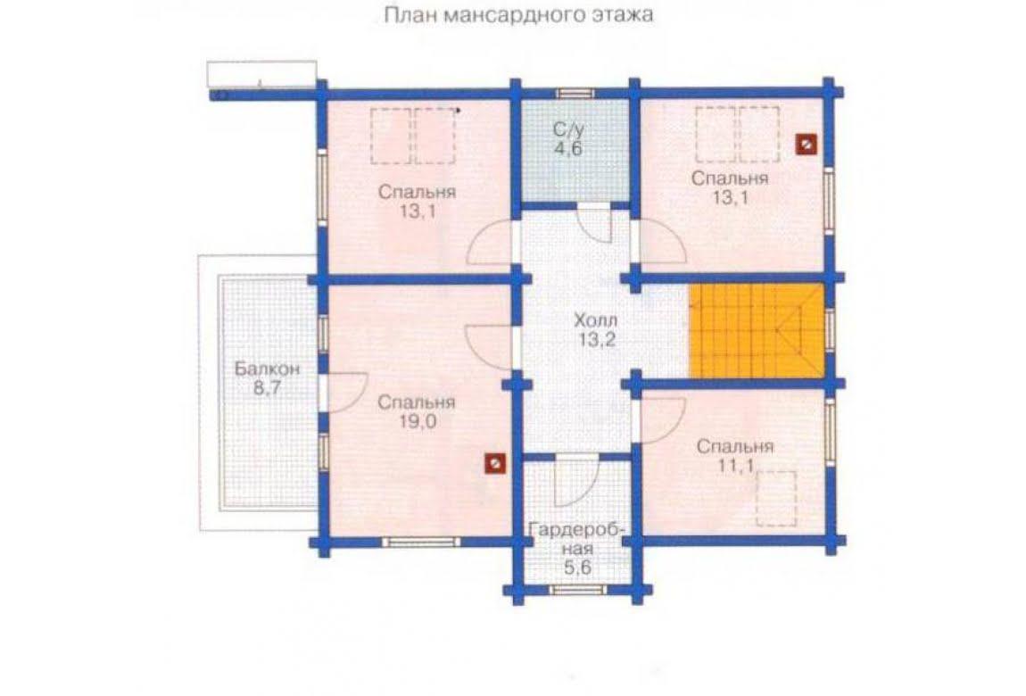План N2 проекта дома из клееного бруса АСД-1350