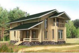 Деревянный дом из клееного бруса по проекту БР-17