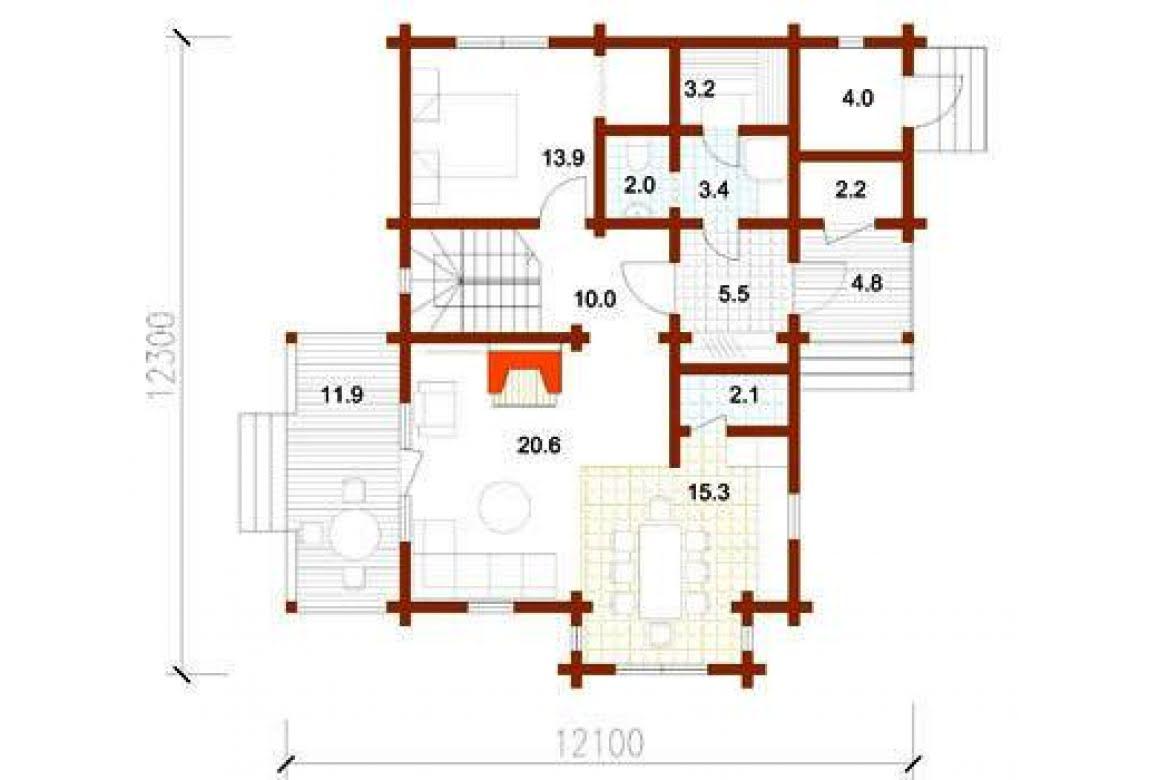План N1 проекта дома из клееного бруса АСД-1351