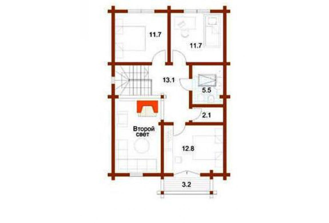 План N2 проекта дома из клееного бруса АСД-1351