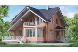 Деревянный дом из клееного бруса по проекту 10-55