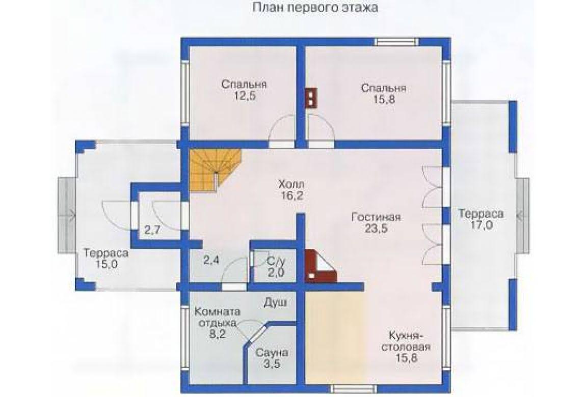 План N1 проекта дома из бревна АСД-1353