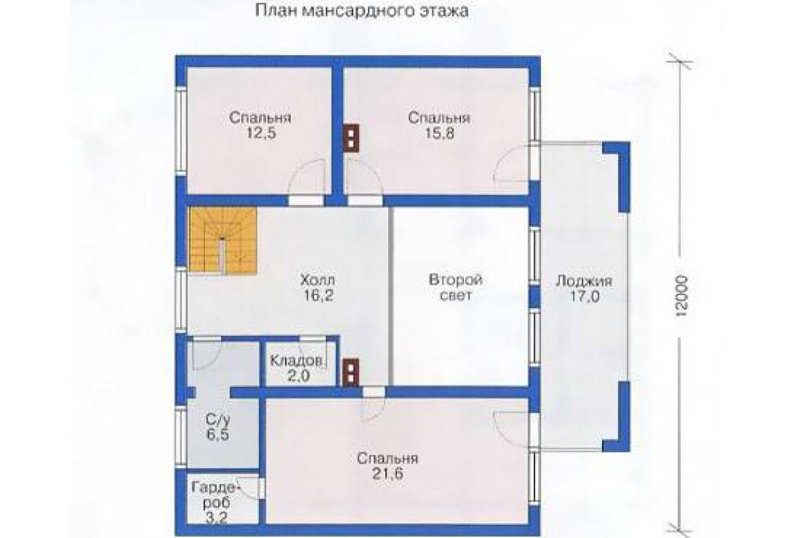 План N2 проекта дома из бревна АСД-1353