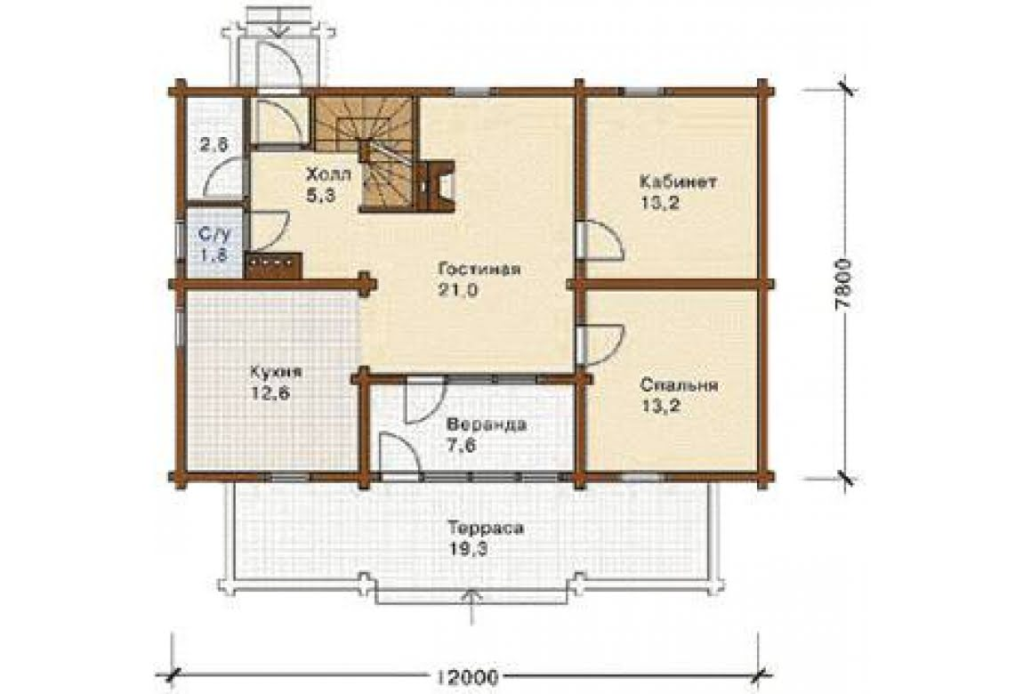 План N1 проекта дома из бревна АСД-1355