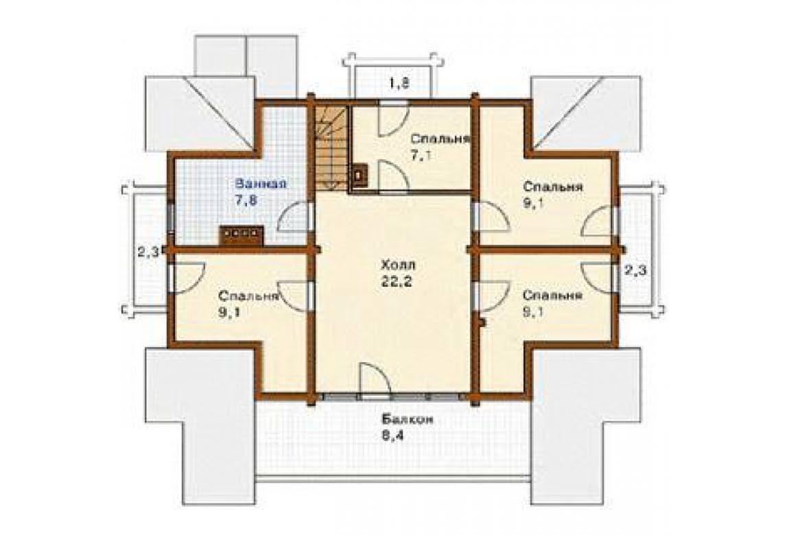 План N2 проекта дома из бревна АСД-1355