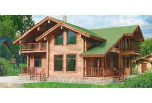 Деревянный дом из клееного бруса по проекту 10-54