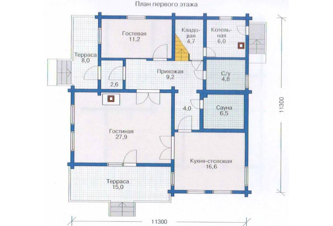 План N1 проекта дома из клееного бруса АСД-1357