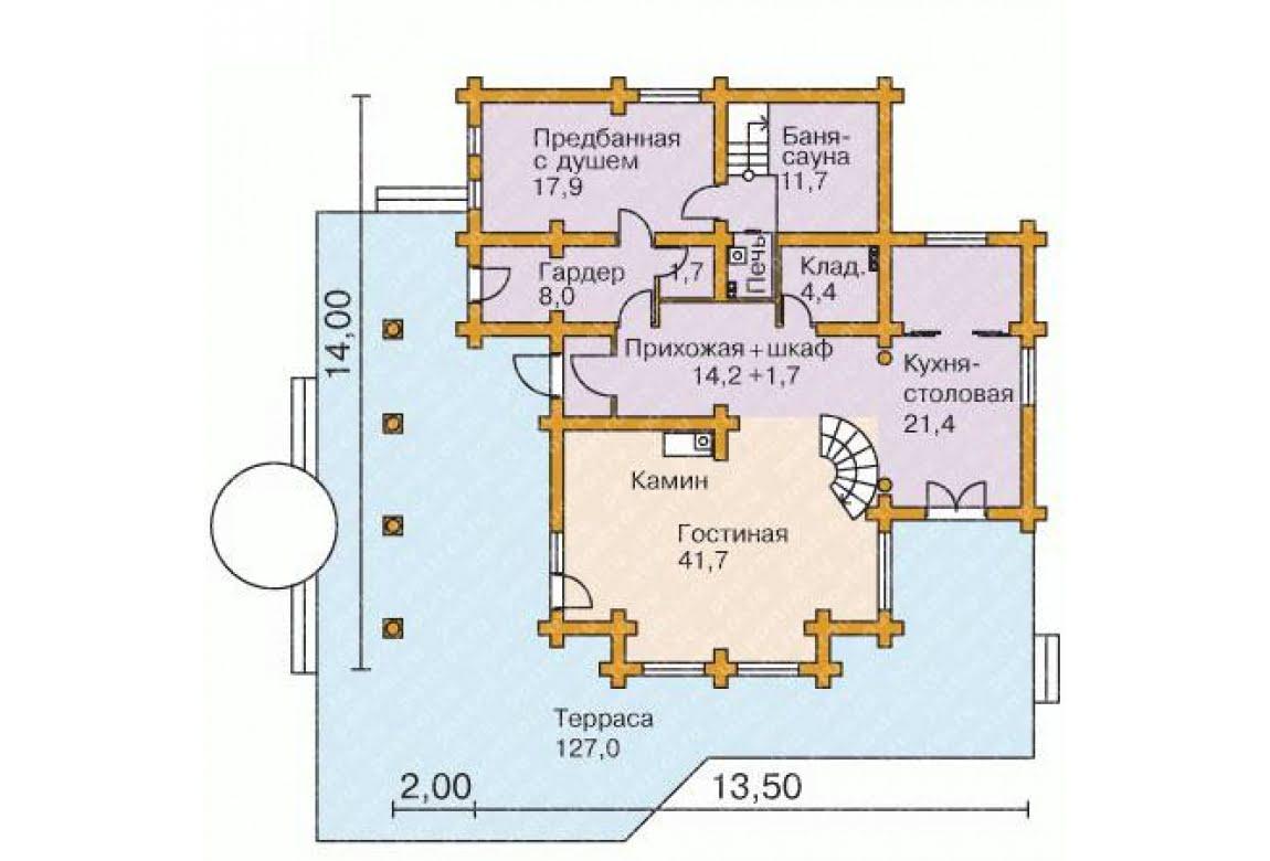 План N1 проекта дома из бревна АСД-1360