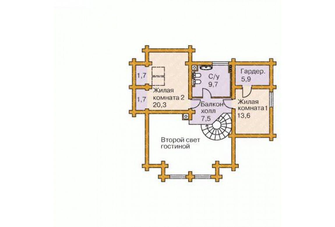 План N2 проекта дома из бревна АСД-1360