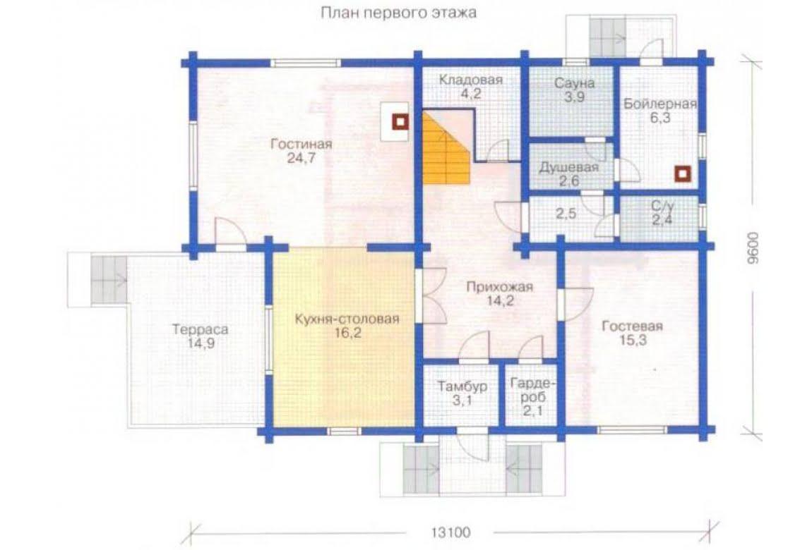 План N1 проекта дома из клееного бруса АСД-1361