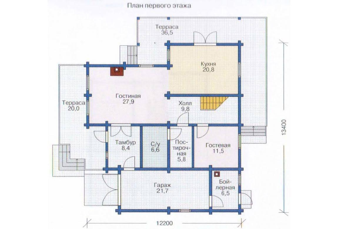 План N1 проекта дома из клееного бруса АСД-1362