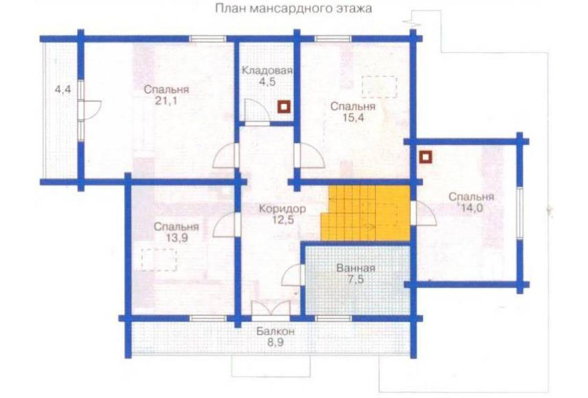План N1 проекта дома из клееного бруса АСД-1363