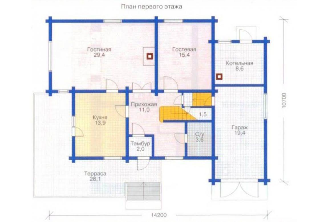 План N2 проекта дома из клееного бруса АСД-1363