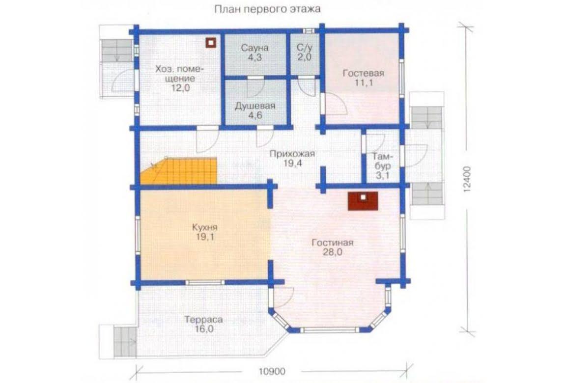 План N1 проекта дома из клееного бруса АСД-1364