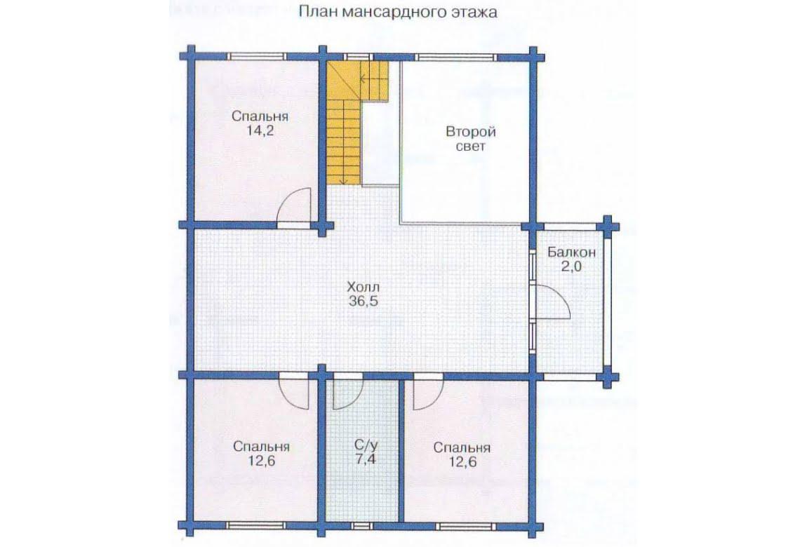 План N1 проекта дома из клееного бруса АСД-1365