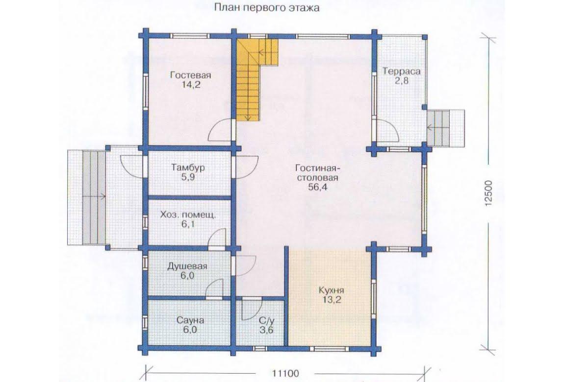 План N2 проекта дома из клееного бруса АСД-1365