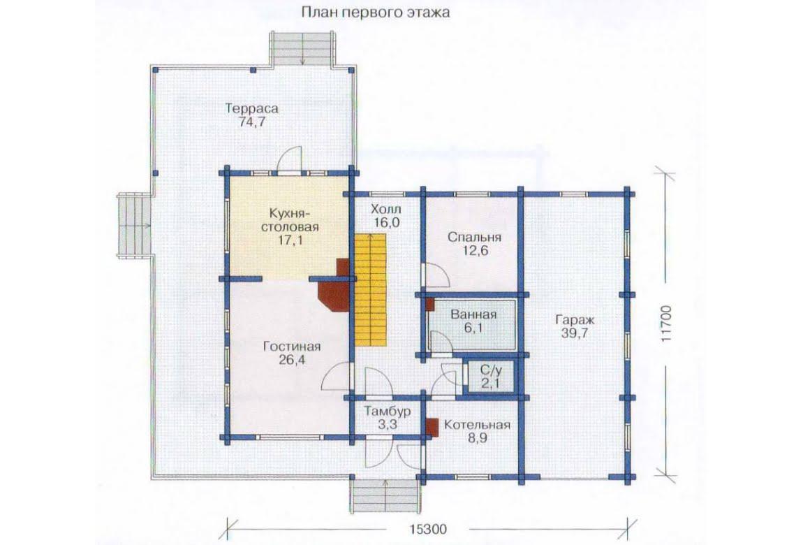 План N2 проекта дома из клееного бруса АСД-1366