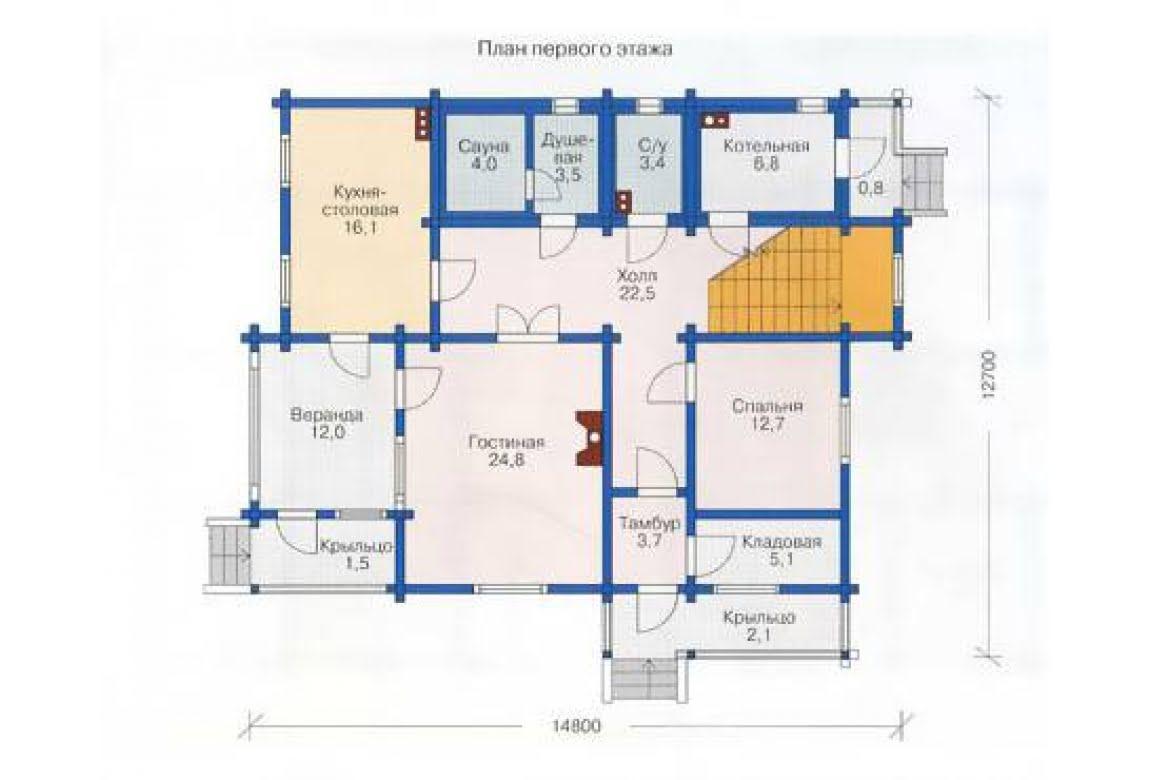 План N1 проекта дома из клееного бруса АСД-1367