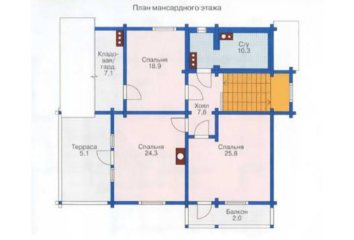 План N2 проекта дома из клееного бруса АСД-1367