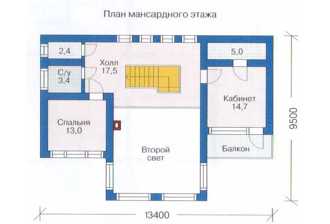 План N1 проекта дома из бревна АСД-1368