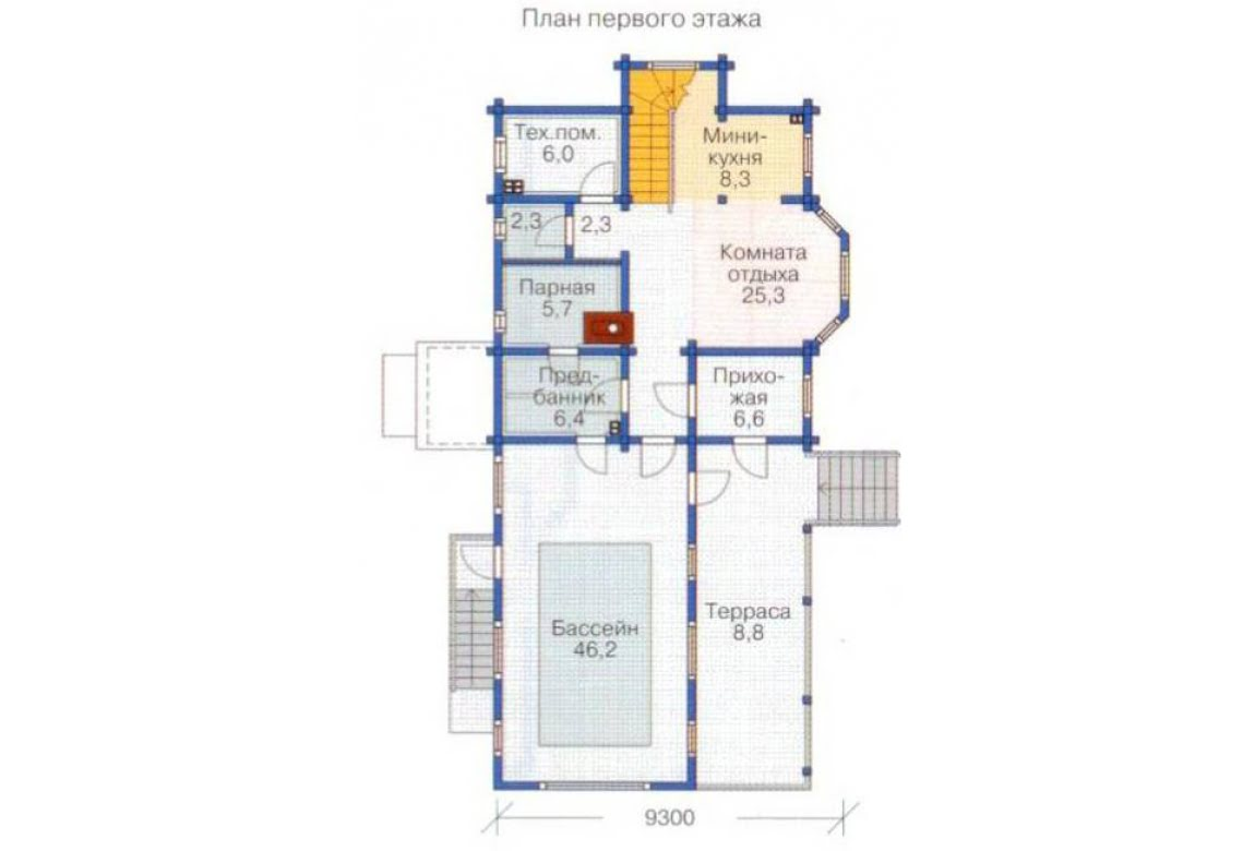 План N2 проекта дома из бревна АСД-1369