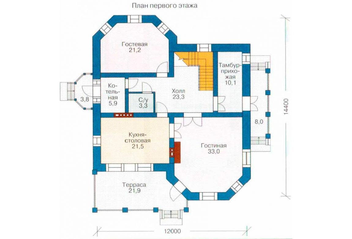 План N1 проекта кирпичного дома АСД-1037