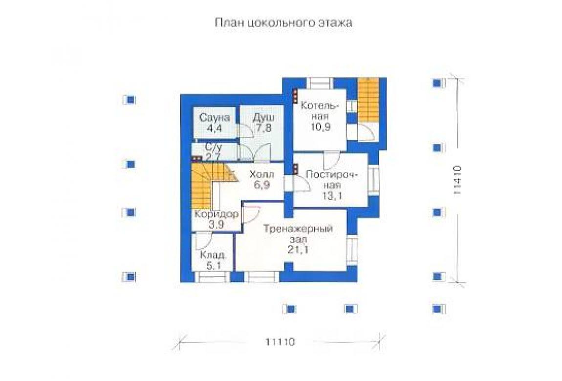 План N1 проекта дома из бревна АСД-1370