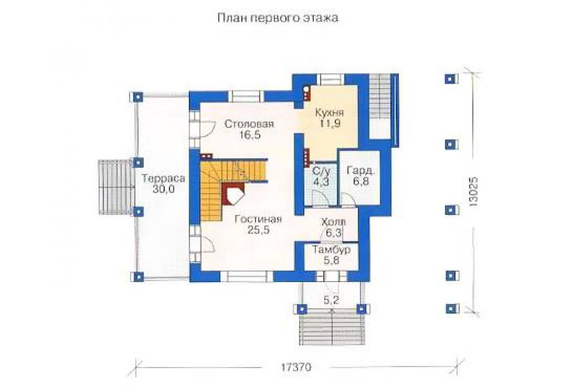 План N2 проекта дома из бревна АСД-1370
