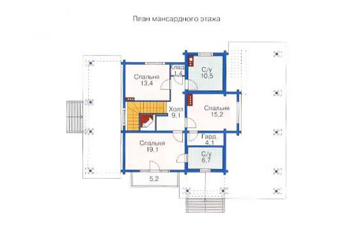 План N3 проекта дома из бревна АСД-1370