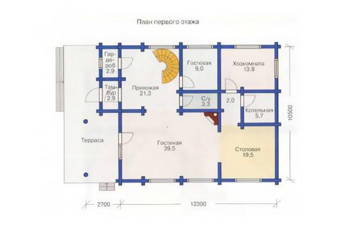 План N1 проекта дома из бревна АСД-1371