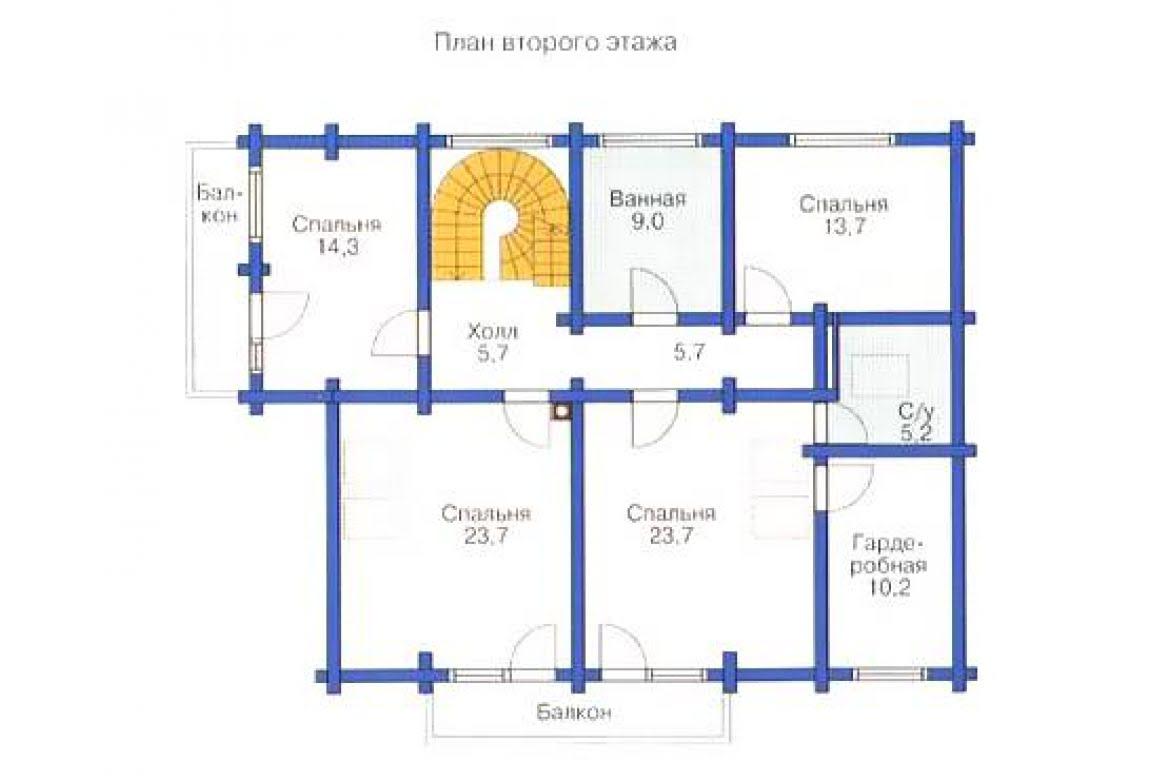 План N2 проекта дома из бревна АСД-1371
