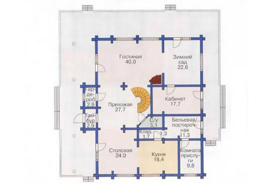 План N1 проекта дома из бревна АСД-1374