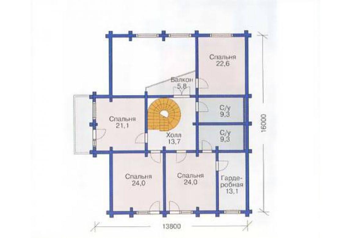План N2 проекта дома из бревна АСД-1374