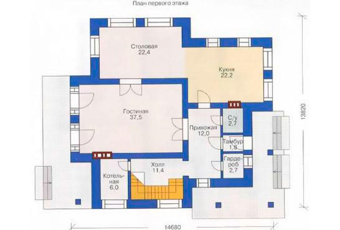 План N1 проекта кирпичного дома АСД-1038