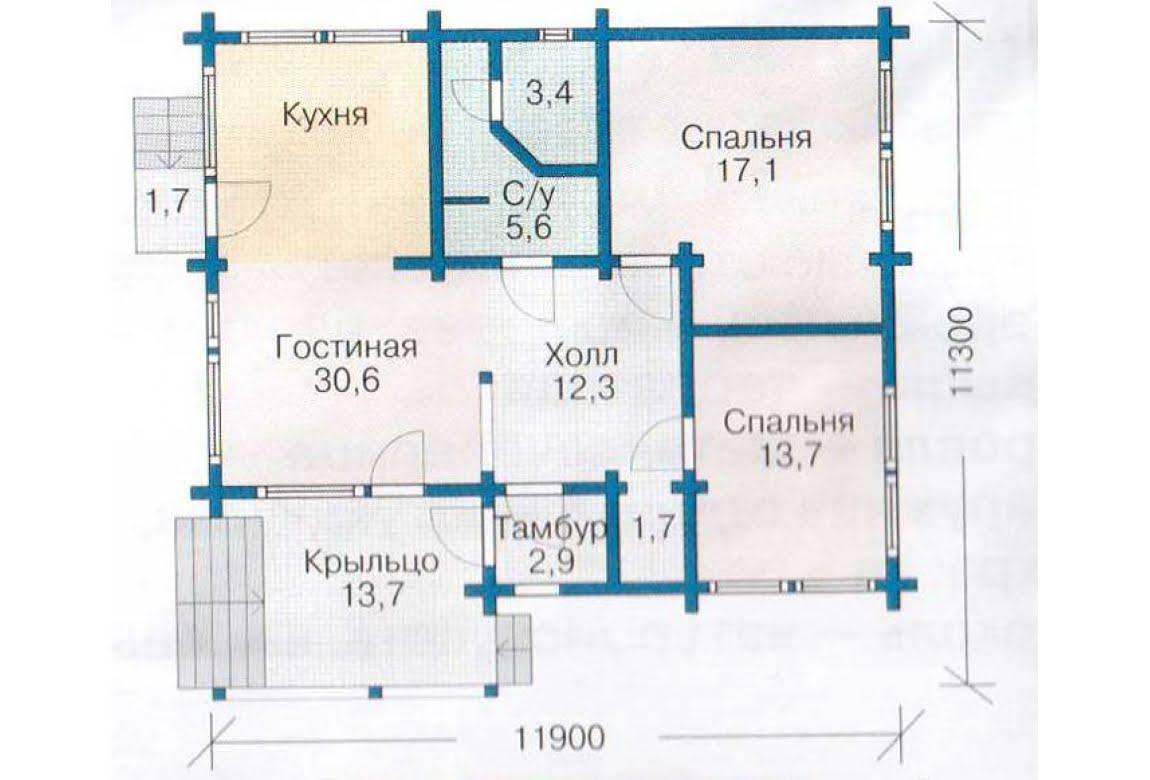 План N1 проекта каркасного дома АСД-1380