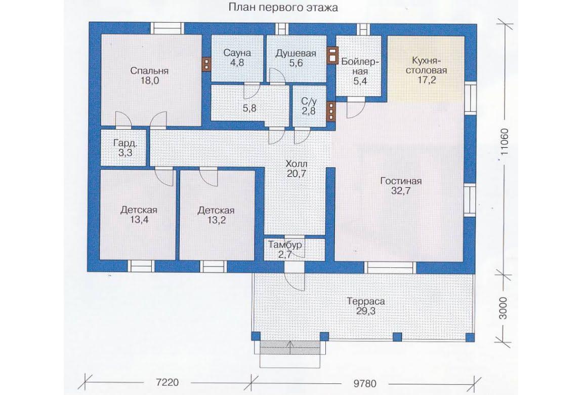 План N1 проекта каркасного дома АСД-1388