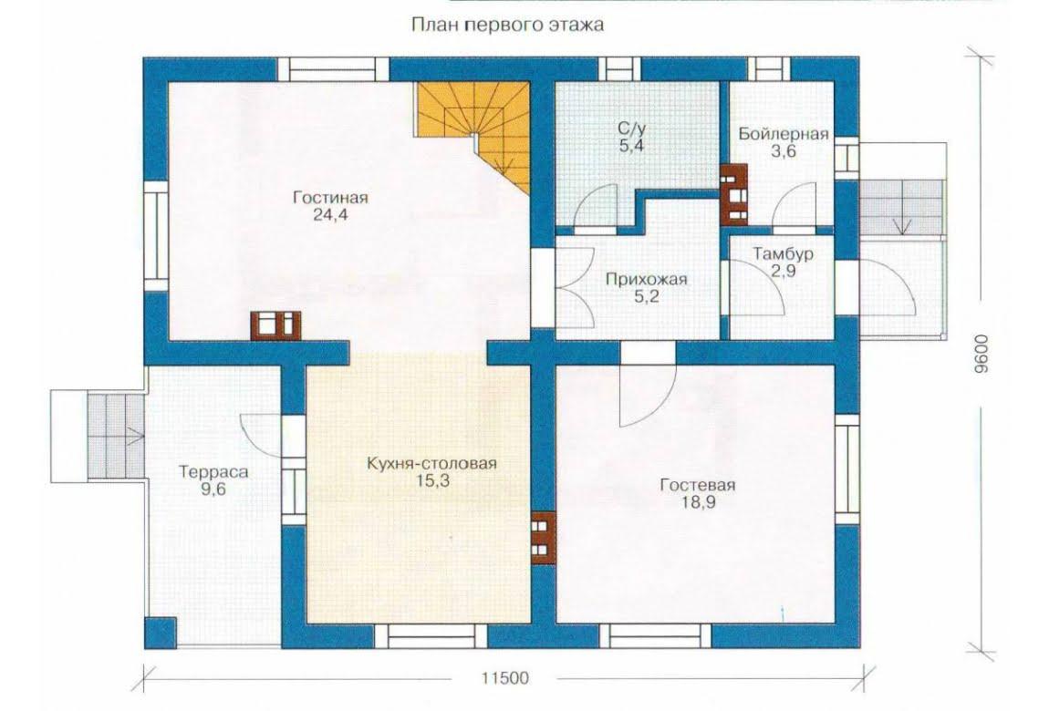 План N1 проекта каркасного дома АСД-1390