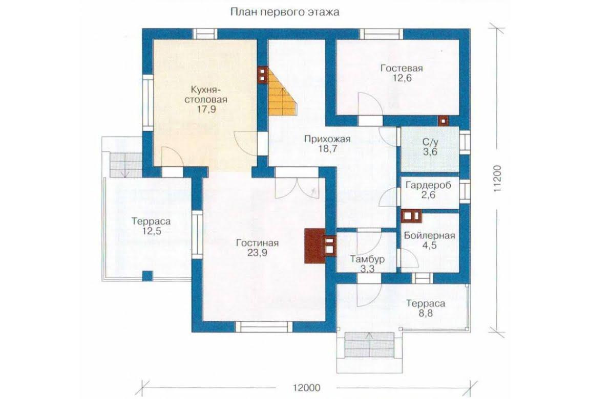 План N1 проекта каркасного дома АСД-1398