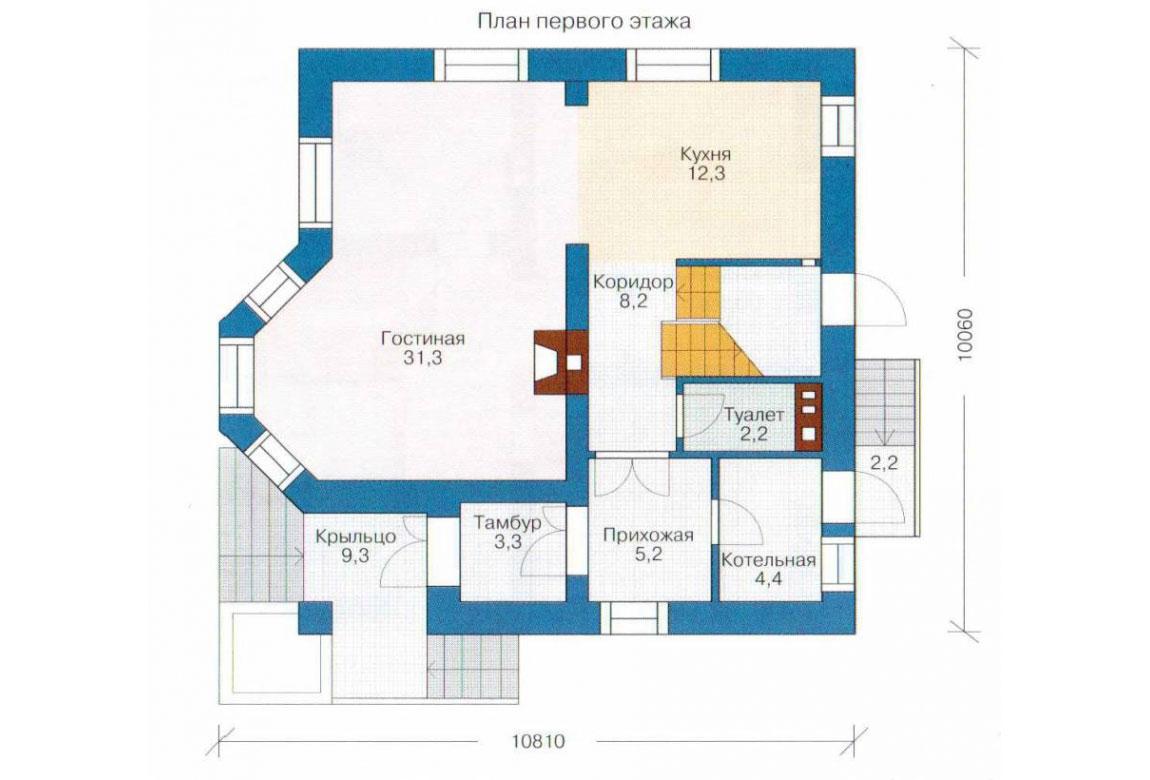 План N2 проекта кирпичного дома АСД-1004