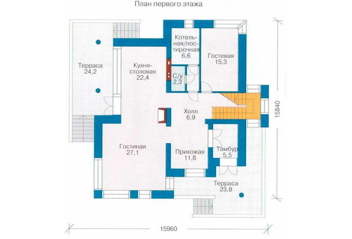 План N3 проекта кирпичного дома АСД-1040