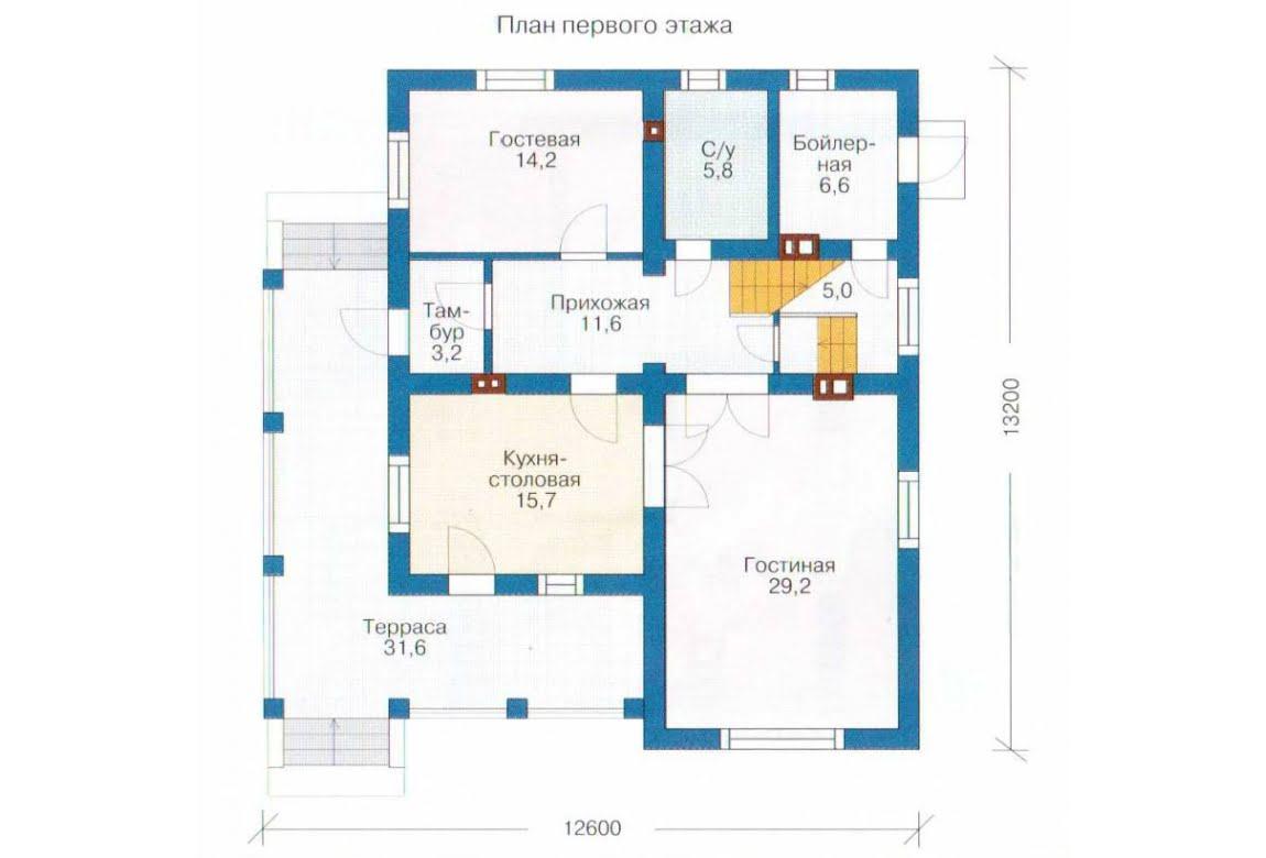План N1 проекта каркасного дома АСД-1400