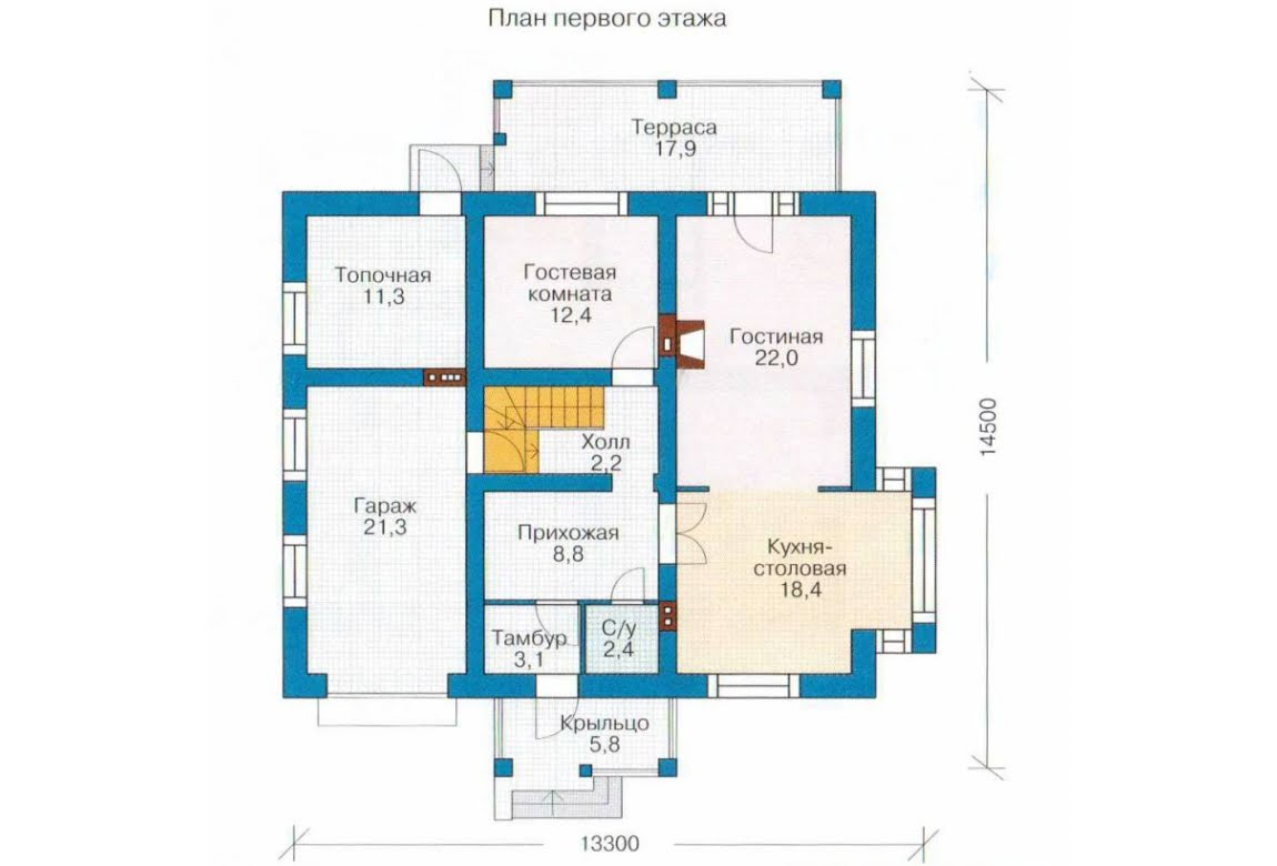 План N1 проекта каркасного дома АСД-1401