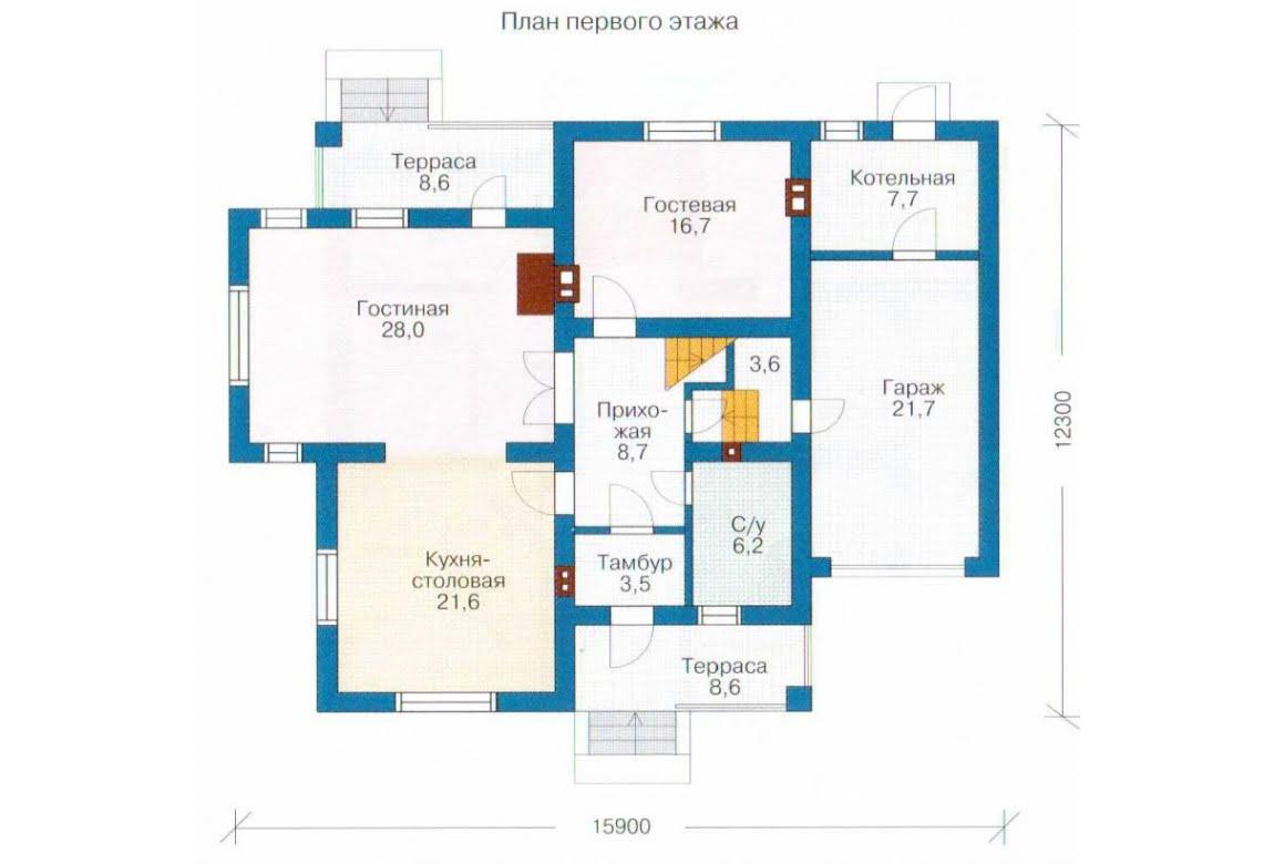 План N1 проекта каркасного дома АСД-1403