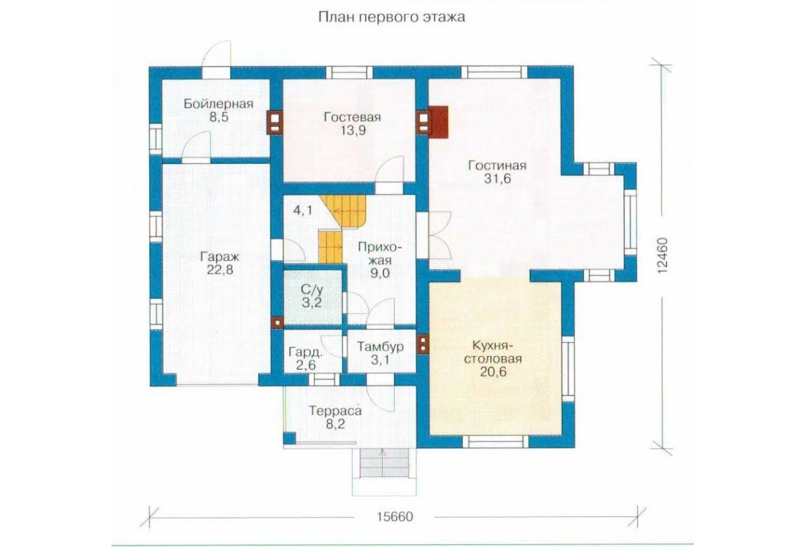 План N1 проекта каркасного дома АСД-1405